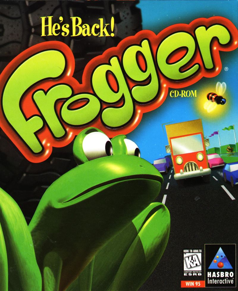 Frogger He's Back DOS Game Box Cover Art