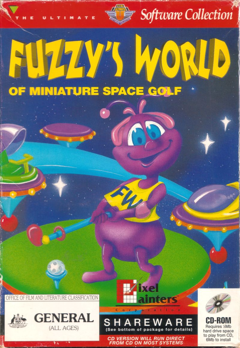 Fuzzy's World of Miniature Space Golf DOS Game Box Cover Art