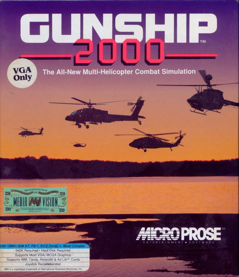Gunship 2000 DOS Game Box Cover Art