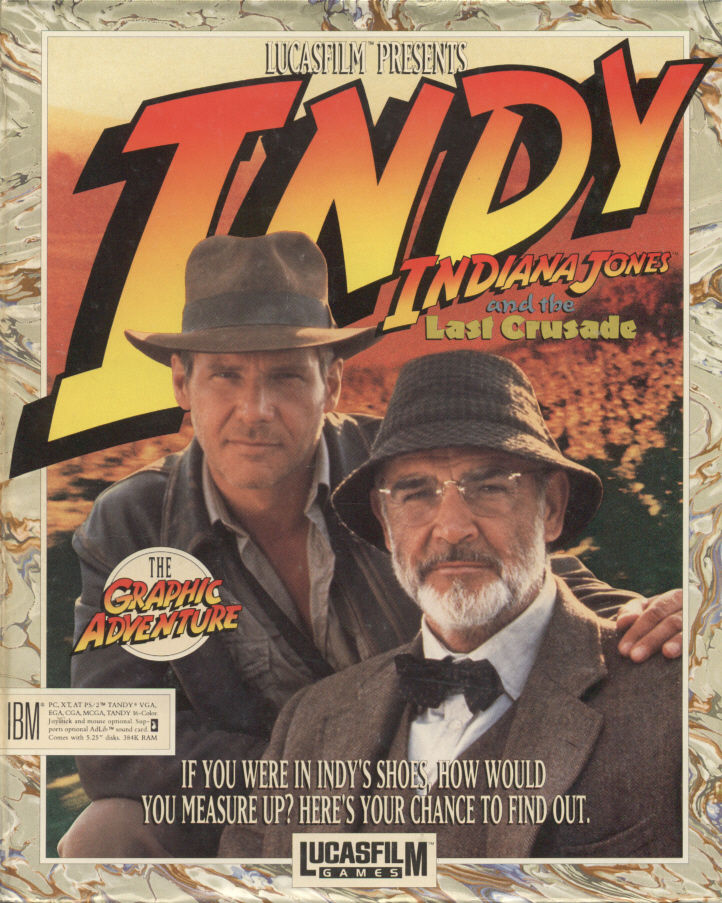 Indiana Jones and The Last Crusade The Graphic Adventure DOS Game Box Cover Art