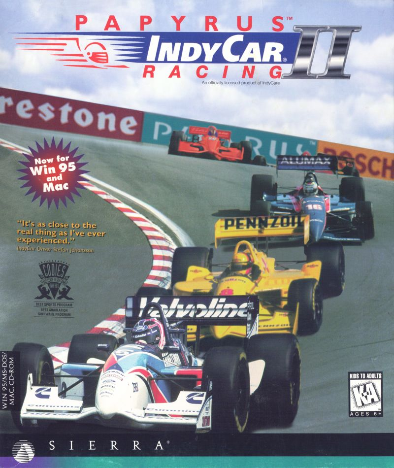 IndyCar Racing II DOS Game Box Cover Art