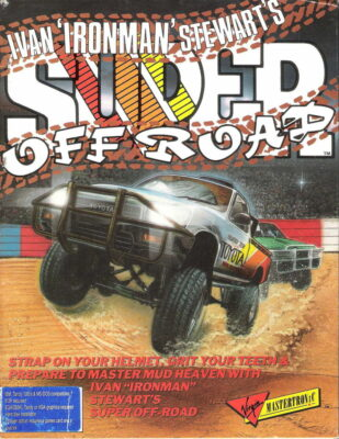 Ivan 'Ironman' Stewart's Super Off Road DOS Game Box Cover Art