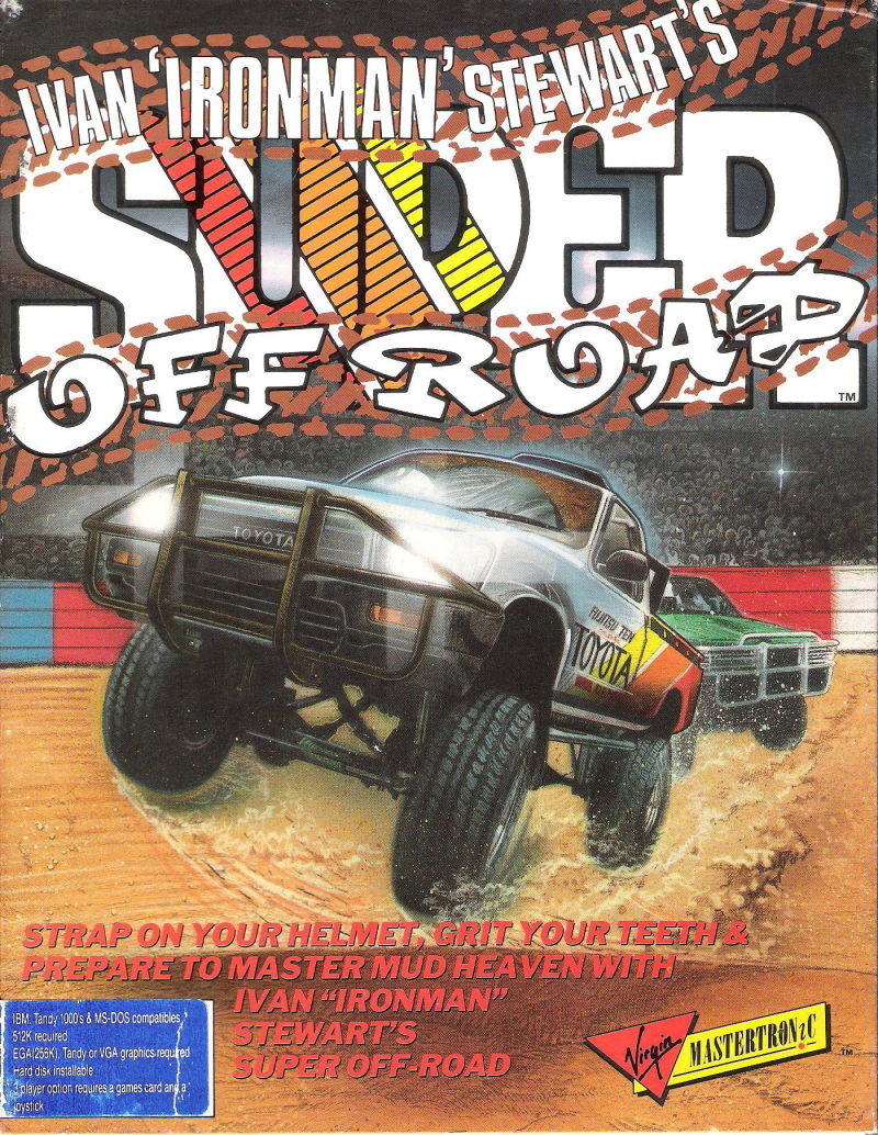 Ivan 'Ironman' Stewart's Super Off Road DOS Game Box Cover Art