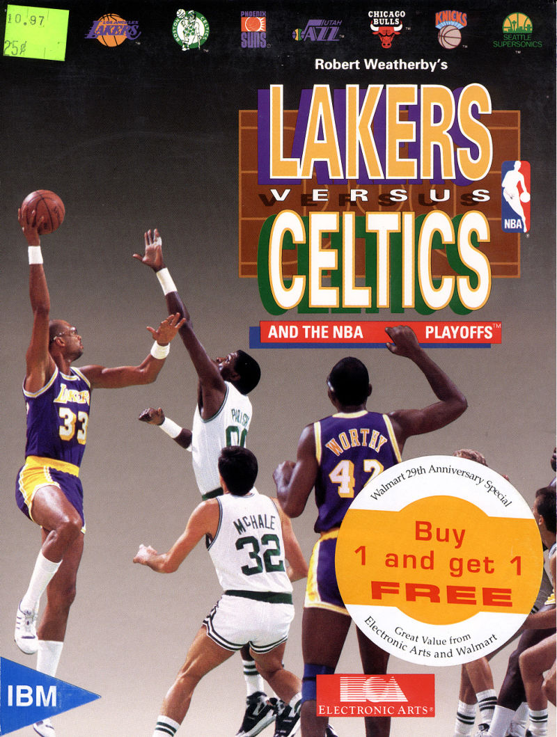 Lakers versus Celtics and the NBA Playoffs DOS Game Cover