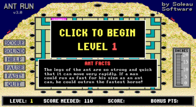 Ant Run puzzle dos game 1996